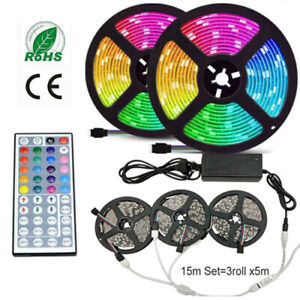 5M 10M 15M LED Strip Light RGB 5050 Flexible Ribbon RGB lamp 44key Remote KIT