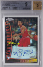 2008-09 TOPPS CHROME YOUTHQUAKE AUTO: DERRICK ROSE #3/30 REF RC AUTOGRAPH BGS 9