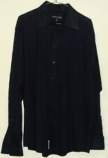 Kenneth Cole Mens Black Purple Striped Cotton Long Sleeve Button Down Shirt 16