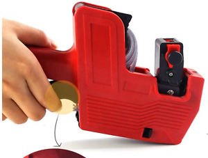 MX-5500 8 Digits Price Pricing Tag Label Gun Labeller Plus Extra Ink (RED Body)