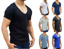 NEW MENS PLAIN DEEP V NECK T SHIRT SLIM FIT S - XXL EURO CASUAL MUSCLE FASHION