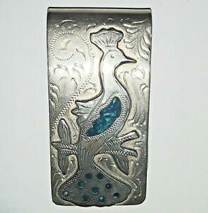 Vintage Mexico Alpaca turquoise chip inlay peacock bird of paradise money clip