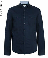 Smith & Jones Men New Long Sleeve Slim Fit Shirts Plain Casual Small S Navy Blue