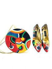 Amazing Vintage Andrea Pfister Crossbody W/ Matching Heels Size 9 us 39 eu