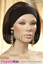 WOW! Sleek Straight Headband 3/4 Wig Warm Brown Highlights