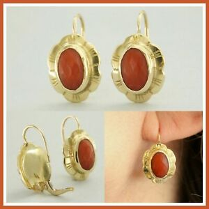 18k 18ct Solid Yellow GOLD Real Natural CORAL Drop Leverback Italian Earrings