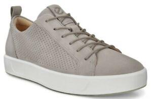 ECCO Mens Soft 8 Tie Fashion Sneaker EU 47 Moon Rock Tan Leather Lace Size 13 US