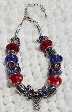 """Red White Blue Silver tone Beaded Bracelet Heart Charm Mixed Metals """"Handmade"""""""