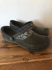 Crocs MERCY Clog Womens Size 7 Mule Black With Floral Band Work Non-Slip