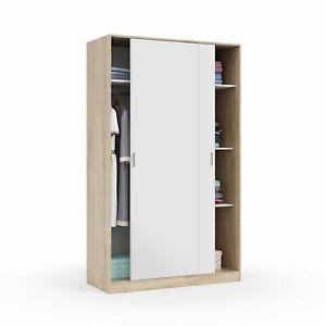 Armario dos puertas correderas, armario ropero tres estantes, Blanco y Roble