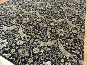 8x10  Oriental area rug wool hand-knotted Green Gold Black Rust
