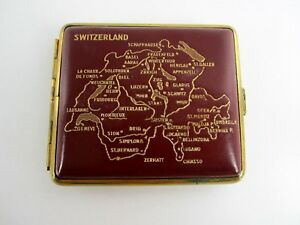 Old Noble Cigarette Case Snuffbox Box Switzerland Brass Red Leather