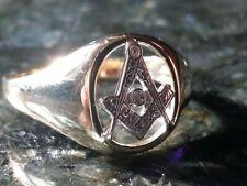 Scottish Rite Masonic 9ct YELLOW and WHITE GOLD RING SIZE Y 5.1g 21st Degree