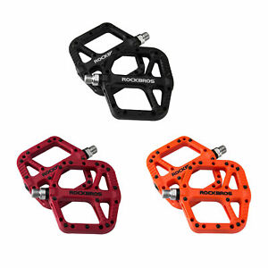 """ROCKBROS Bike Pedals Nylon Composite Bearing 9/16"""" MTB Road Bicycle Pedals Wide"""