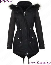 NEW Womens LADIES PARKA JACKET Quilted Sleeves WINTER COAT FISHTAIL Size 8-16 HA