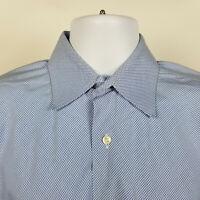 Robert Talbott Blue Diamond Check Mens Dress Button Shirt Size 16 - 34