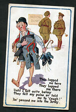 Posted 1916 Comic/Cartoon: Man & Army Medical Board: Passed Me Into The Army