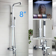 """LED 8"""" Silver 3-Way Shower Faucet Set Rainfall Head Mixing Valve Hand Spray Taps"""