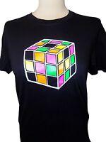 Retro 1980's T-Shirt Back To The 80's Rubik's Cube Ladies Men Black White Unisex