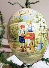 Children playing with Rabbits. Spring Scene Early 1900s German Egg Container Orn