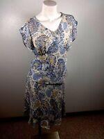 JACLYN SMITH WOMENS BLUE & TAN FLORAL PRINT 2 PC CHIFFON DRESS SIZE 8