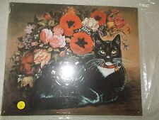 """Tin Decorative Sign """"Cat With Flowers"""" 1996 The Balliol Corp."""