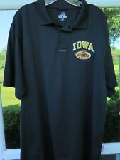 e7acb9faa8f Russell Team Issue Iowa Hawkeyes Black Embroidered Outback Bowl Polo Shirt  Large