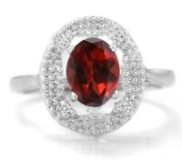 925 Sterling Silver Ring Natural Red Garnet Gemstone Size 4 5 6 7 8 9 10 11