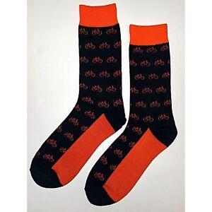 NWT Orange Bicycle Dress Socks Novelty Men 8-12 Black Fun Sockfly