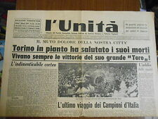 GRANDE TORINO-TORINO in pianto ha salutato i suoi morti-7 maggio 1949-L'UNITA'
