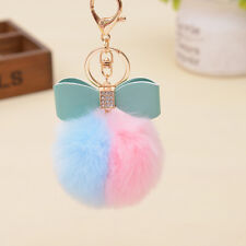 Fluffy  Pom-pom Key Chain Bag Charm Puff Ball Bow Key Ring Car Pendant Blue&Pink