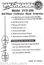 Workman UVS-300 / Jetstream JTB1B - 2m / 70cm Fiberglass Amateur Radio Antenna