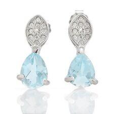 Ohrringe/Ohrstecker Lina, 925er Silber, 1,63 Kt. echter Blautopas/Diamant