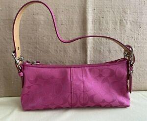 Coach Signature Soho Fushia Pink Jacquard Fabric Under-arm Bag Handbag