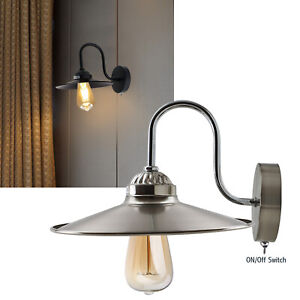 Retro Vintage Metal Lamphade Ceiling Industrial Switched Wall Light Lamp Fixture