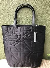 DKNY DONNA KARAN Nylon Quilted Logo Black Women Shopper Tote Handbag Purse $200
