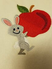Personalized Embroidery Baby Blanket With Bunny n Apple