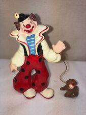 Vtg Enesco Sri Lanka Circus Happy Clown Monkey Tricks Miniature Figurine