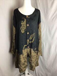 Kusnadi NY Womens Mixed Print Button Top Tunic Blouse Black & Brown W/ Pockets