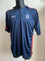 ENGLAND BLUE FOOTBALL SHIRT JERSEY UMBRO SIZE XL ADULT SOCCER FAN 2000's W ZIP