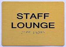 New listing Staff Lounge Sign - Gold(Aluminium, Gold/Black,Size 5x7).(ref1820)