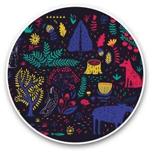 2 x Vinyl Stickers 10cm - Forest Animals Pattern Scandinavian  #45057