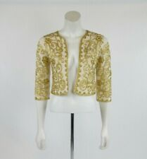 By Malene Birger Ethel Ivory Gold Open Front 3/4 Sleeves Cropped Cardigan Size S