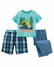 New OshKosh 3 Piece PJs Dino Top Shorts Pants Set size 12 Year NWT Jersey Loose