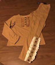 NEW Girl's long sleeve Mustard Pie Legging Outfit Size 12
