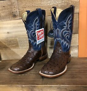 TONY LAMA WOMEN'S  FULL QUILL OSTRICH BOOTS,SQUARE TOE TABAC SPECIAL EDITION