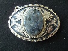 Silver Color Belt Buckle Large Black Gray Stone!!  COWBOY OR GIRL?