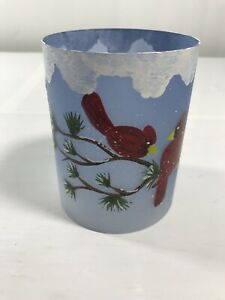 Holiday Blue Sky Cardinal Jar Candle Globe Christmas Winter Decor Globe Only