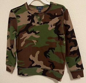 NWT Polo Ralph Lauren Little Boys Kids Camo Sweatshirt Green Multi Size 6