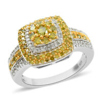 925 Sterling Silver Yellow Diamond Cluster Ring Gift Size 8 Ct 0.385 I3 Clarity
